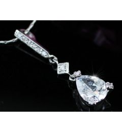 "2 Carat Pear Cut CZ Simulated Diamond Pendant Necklace ""Zoe"""