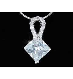 "3.5 Carat Diamond Cut CZ Simulated Diamond Pendant Necklace ""Anna"""