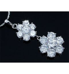 "High Quality Flower 6 Carats CZ Simulated Diamond Pendant & Necklace ""Madison"""
