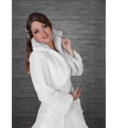 "Faux Fur Bridal Coat, Jacket in White ""Nuka"""