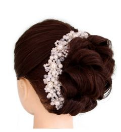 "Bridal Wedding Hair Accessory, Decoration Handmade with Faux Pearls & Crystals ""Belinda"""