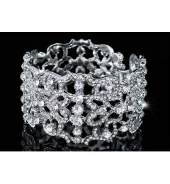 "White Gold Plated Austrian Crystal Sparkly Bracelet, Bangle ""Brenda"""