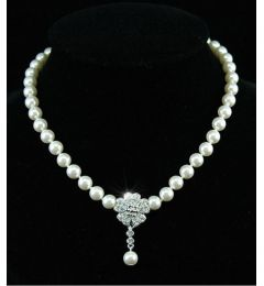 "Elegant Ivory Simulated Pearl Necklace with Austrian Crystals ""Nora"""