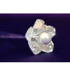 "Set of 6 White Gold Plated, Pearl, Crystal Flower Hair Pins, ""Megan"""