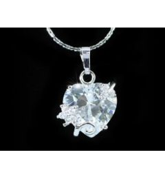 "5 Carat Heart Cut CZ Pendant Necklace 18K White Gold Plated  ""Petra"""
