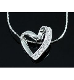 "White Gold Plated Heart Necklace with Swarovski Crystals ""Jojo""White Gold Plated Heart Necklace with Swarovski Crystals ""Aleca"""