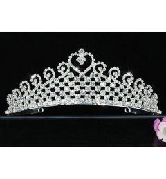"Silver Plated Stunning Crystal Bridal Heart Tiara ""Ursula"""