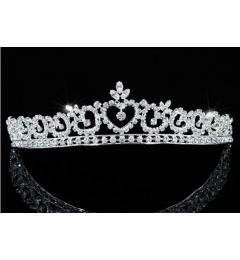 "Silver Plated Clear Crystal Bridal Heart Tiara with Swarovski Crystals ""Sarah"""