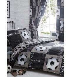 Football Theme Single Duvet Cover And Pillowcase Set in Black-White-Grey