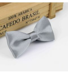 "Boys Silver Satin Bow Tie ""Dimi"""