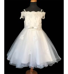 "Stunning Bridesmaid - Off White, Ivory Occasion Dress with Lace Applique ""Electra"""