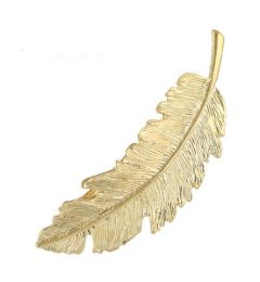 "Gold, Feather Design Hair Clip ""Feather""."