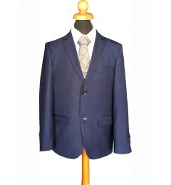 "Navy Blue Marine Boys 5 Piece Suit with Grey Waist Coat Age 8-14 years ""George"""