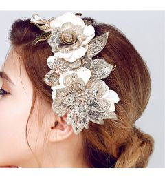 "Bridal Wedding Flower Leaf Hair Piece in Ivory, Beige, Gold ""Gwendoline"""