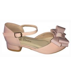 "Elegant Nude-Pink Patent Girls Party Shoes With Heels ""Ioulita"""