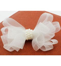 "Pretty White Organza Ribbon and Pearl Hair Bow ""Karin"""