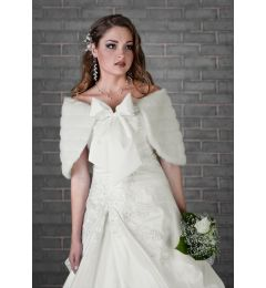 "Bolero, Bridal Jacket, Cape, Faux Fur in Ivory ""Neva"""