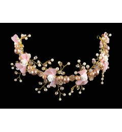 "Gold Colour Bridal, Occasion Flower & Laurel Leaf with Crystals Vintage Style Headband ""Laura"""