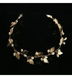 "Bridal Wedding Hair Piece, Gold Colour with Leaves & Faux Pearls ""Marleen"""