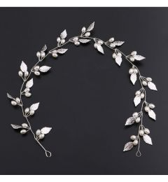 "Bridal Wedding Hair Piece, Silver Colour with Leaves & Faux Pearls ""Marleen"""