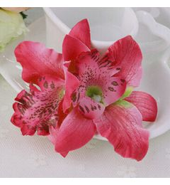"Fuchsia  Orchid Fabric Bridal, Bridesmaid Hair Flower, Clip, Broach ""Orchid"""