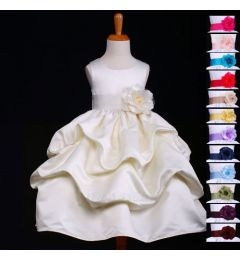 "Gorgeous Satin IVORY (with sash and flower in colour of your choice) Bridesmaid, Flower Girl, Dress ""Pandora"""