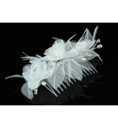 "Beautifu Handmade Bridal Organza Flower Comb with Crystala and Faux Pearls   ""Gilly""."