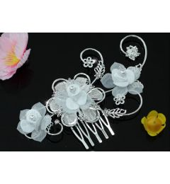 """Beautiful Handmade Bridal Organza Flower Comb with Crystal and Faux Pearls """"Camila""""."""