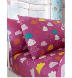 Single Multi Coloured Unicorn Clouds Design Fitted Sheet & Pillow Case Set