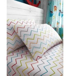 Single Zig Zag Fitted Sheet & Pillow Case Set in Rainbow Colours