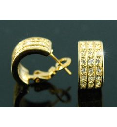 "Beautiful Gold Plated Swarovski Crystal Huggie Earrings ""Carolyn"""