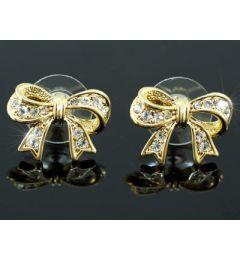 "Beautiful Gold Plated Swarovski Crystal Bow Earrings ""Davina"""