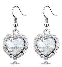 "Dangle Heart 3 Carat CZ Cubic Zirconias Earrings ""Miranda"""