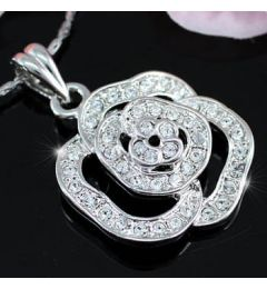 "White Gold Plated Rose Necklace with Swarovski Crystals ""Brigette"""
