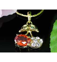 "Beautiful 18K Gold Plated Cherry Pendant Necklace ""Cherry"""