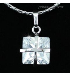 "1.5 Carat Princess Cut Cross Design CZ Simulated Diamond Pendant Necklace ""Leonie"""