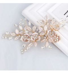 Handmade Rose Gold Austrian Crystals Rhinestones Flower Leaf Wedding Hair Clip