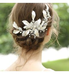 Handmade Silver Wedding Hair Clip With Austrian Crystals - Rhinestones