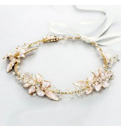 "Bridal Pretty Gold Headpiece with Crystals ""Cindy"""
