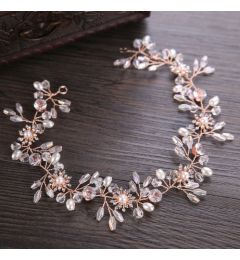 Bridal Hair Vine Rose Gold Wired Rhinestones Crystals Pearls