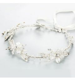 Handmade Silver Wedding Headpiece - Bridal Headband with Rhinestones Crystal Pearls Flowers