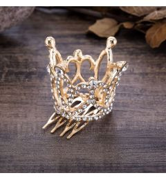 Gold Plated Mini Crown with Crystals for Christening, Wedding