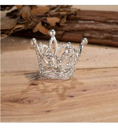 Silver Plated Beautiful Mini Crown with Crystals for Christening, Wedding
