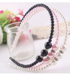 Pretty Beaded Headband in White, Black or Pink