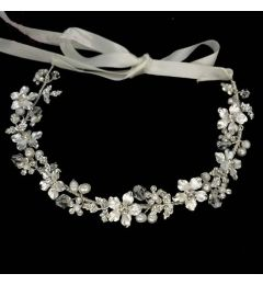 "Bridal Pretty Silver Headpiece with Crystals ""Cindy"""