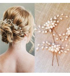 Bridal Handmade Crystal Pearl Flower Hair Pin Accessory for Bride, Bridesmaid