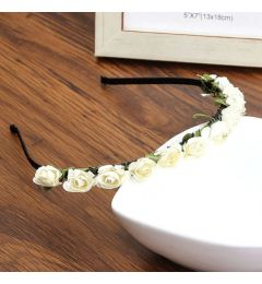 Headband for Bridesmaid, Party, Occasion with White or Ivory Flowers, Roses