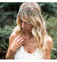 Bridal Crystal Beaded Vine Headpiece in Silver