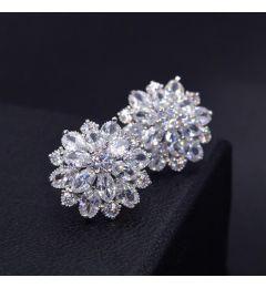 """Earrings S925 Sterling Silver AAA Cubic Zirconia Flowers """"Beverly"""""""