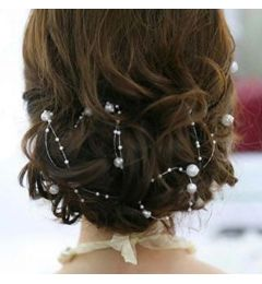 "Long Vine Headpiece with White Pearl Beads  ""Aurora"""
